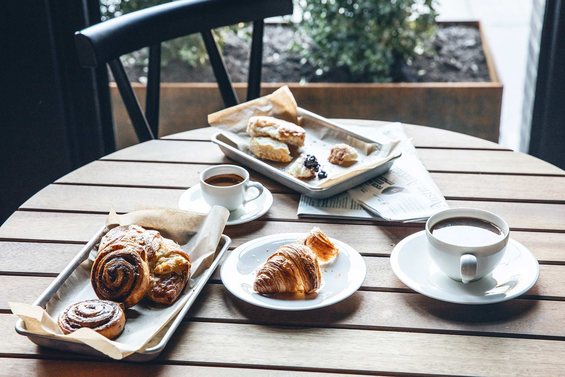 Assorted Breakfast Pastries and Coffee
